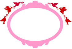 Frame with red birds. Pink frame with red birds Stock Photos
