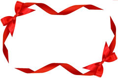 Frame from red bow and ribbons Stock Image