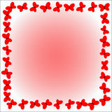 Frame of red butterflies on a gentle background. Square Stock Photos