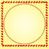 Frame of red butterflies on a gentle background. Square and circle Royalty Free Stock Image