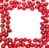 Frame from red cherries Royalty Free Stock Images