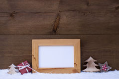 Frame With Red Christmas Decoration, Copy Space, Snow Royalty Free Stock Photos