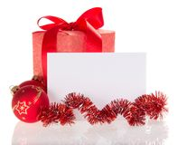 Frame from red Christmas decorations Stock Photography