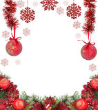 Frame from red christmas decorations isolated on white Stock Photo