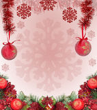Frame from red christmas decorations on pink Stock Images