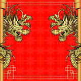 Frame red dragon gold-colored sticker 4 Royalty Free Stock Image