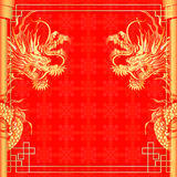 Frame red dragon gold-colored sticker 2 Royalty Free Stock Photo