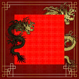 Frame red dragon gold-colored sticker 5 Royalty Free Stock Photos