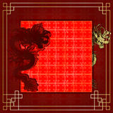 Frame red dragon gold-colored sticker 7 Stock Photography