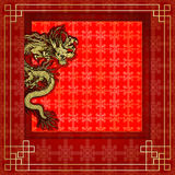 Frame red dragon gold-colored sticker 8 Royalty Free Stock Photo