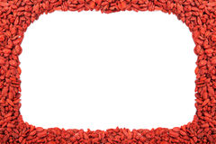 Frame of red dried goji berries Stock Photos