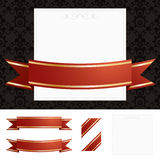 Frame with red and gold ribbon Royalty Free Stock Photos