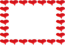Frame of red hearts Royalty Free Stock Photos