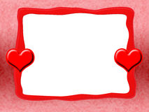 Frame with Red Hearts. Red Romantic Love Frame with Red Hearts and Blank White Background vector illustration