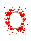 The frame of red hearts. The frame composed of red hearts on a white background Royalty Free Stock Photos