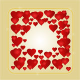 Frame red hearts gold background vector Stock Images