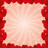 Frame of red hearts. Romantic pink background with frame of red hearts Royalty Free Stock Photo
