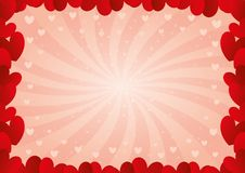Frame of red hearts. Romantic pink background with frame of red hearts Stock Image