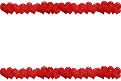 Frame with red hearts in a row Royalty Free Stock Images