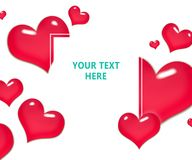Frame of red hearts on Valentine`s Day. Empty space for your text. White background.  Stock Photography