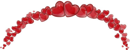 Frame of red hearts on a white background Stock Image