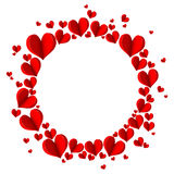 Frame with red hearts on a white background. Stock Image