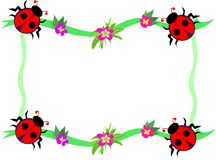 Frame of Red Ladybugs and Flowers Royalty Free Stock Images
