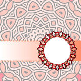Frame red mandala. Drawing of a frame with a red mandala in indian style Stock Photography
