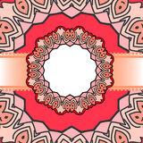Frame red mandala. Drawing of a frame with red mandala in indian style Stock Photos