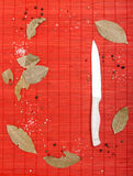 Frame from red mat with knife and spices Stock Photo