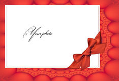 Frame red for a photo with bow Royalty Free Stock Photography