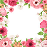 Frame with red and pink flowers. Vector illustration. stock illustration