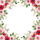 Frame with red and pink roses, lisianthus and anemone flowers and lily of the valley. Vector. Vector frame with red and pink roses, lisianthus and anemone