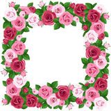 Frame with red and pink roses. stock illustration