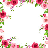 Frame with red and pink roses. Vector illustration. royalty free illustration