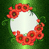 Frame with red poppies and green damask patterned Stock Images