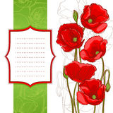 Frame with red poppies Stock Photos