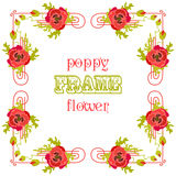 Frame with red poppy flowers and leaves. Floral background. Royalty Free Stock Photos