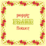 Frame with red poppy flowers and leaves. Floral decor background Stock Photography