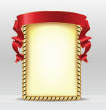 Frame with red  ribbon Stock Photos