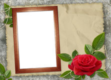 Frame with red rose on the brown background Royalty Free Stock Photo