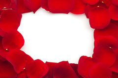 Frame of red rose petals Royalty Free Stock Images