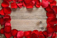 Frame of red rose petals Royalty Free Stock Photos