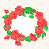 Frame with red roses Royalty Free Stock Photo