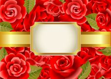 Frame on a red roses background Royalty Free Stock Photography