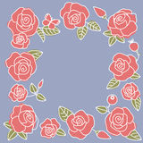 Frame from red roses on a blue. The floral frame from red roses on a gray-blue  background Royalty Free Stock Images