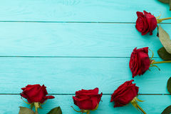 Frame of red roses on blue wooden background royalty free stock image
