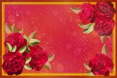 Red roses on a pink background Royalty Free Stock Photo