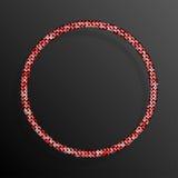 Frame Red Sequins Circle. Glitter, sparkle, stars. Stock Photo