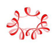 Frame of red serpentine with curls. Festive decoration for design postcards, Christmas, New Year, birthdays Stock Images